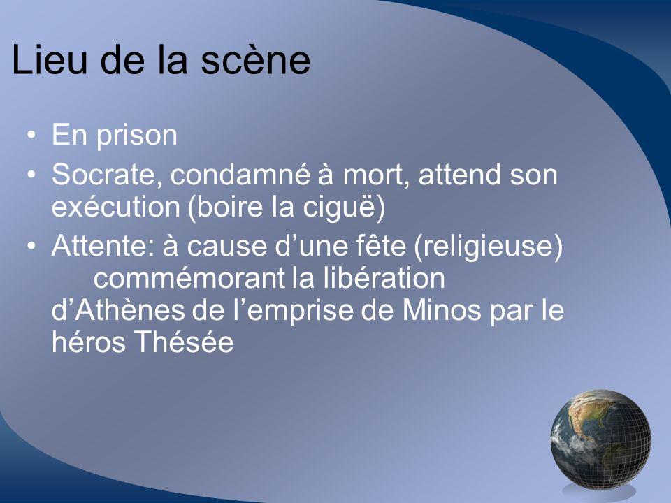 Lieu de la scène En prison Socrate, condamné à mort, attend son exécution (boire la ciguë) Attente: à cause dune fête (religieuse) commémorant la libé