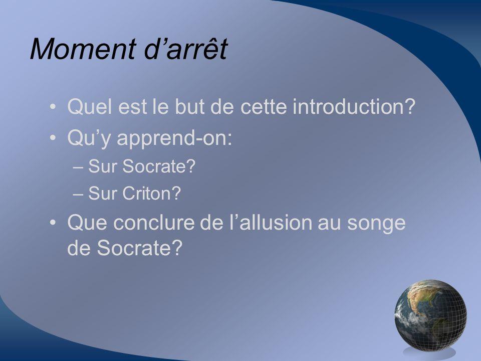 Moment darrêt Quel est le but de cette introduction? Quy apprend-on: –Sur Socrate? –Sur Criton? Que conclure de lallusion au songe de Socrate?