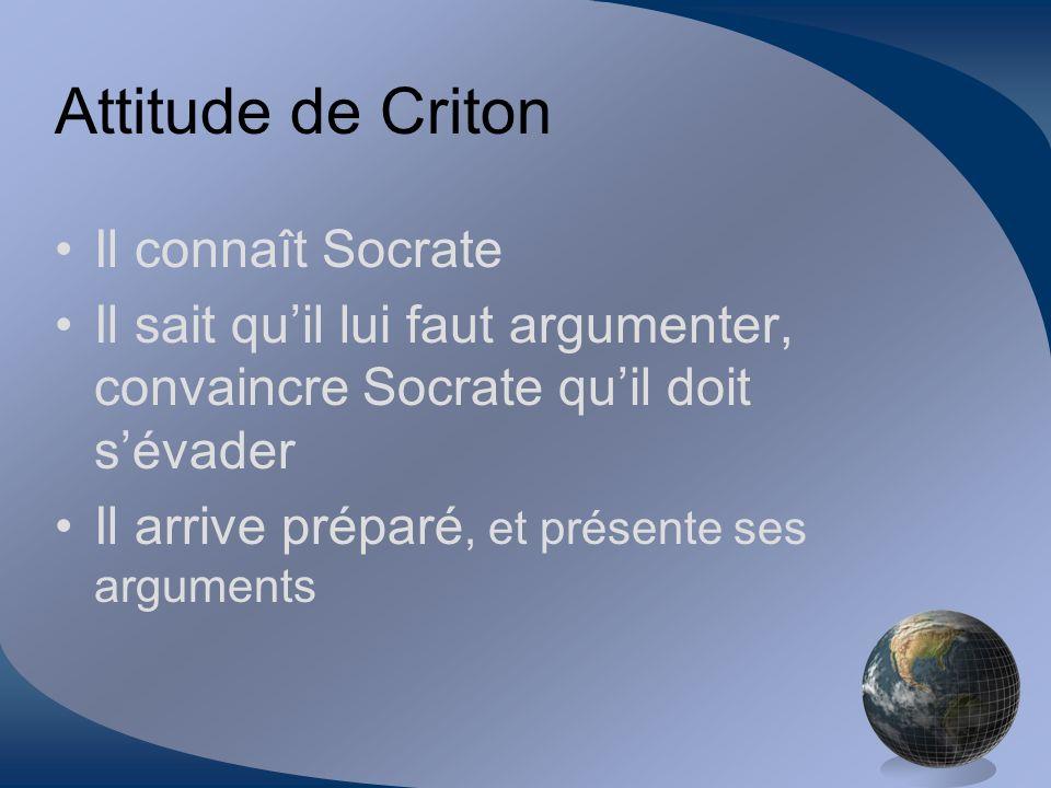 Attitude de Criton Il connaît Socrate Il sait quil lui faut argumenter, convaincre Socrate quil doit sévader Il arrive préparé, et présente ses argume