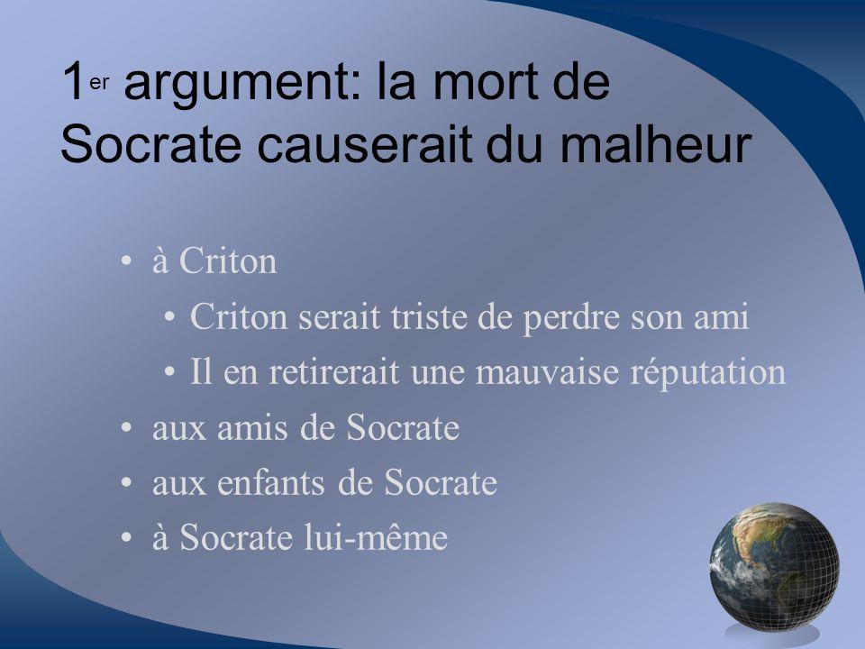 à Criton Criton serait triste de perdre son ami Il en retirerait une mauvaise réputation aux amis de Socrate aux enfants de Socrate à Socrate lui-même