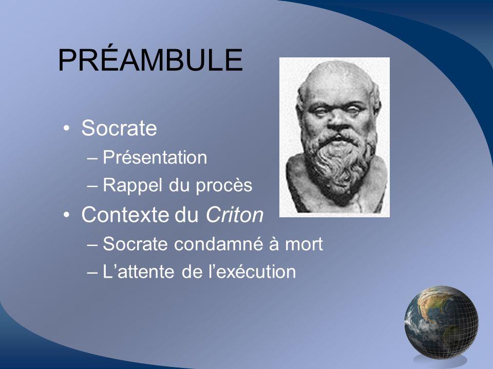 PRÉAMBULE Socrate –Présentation –Rappel du procès Contexte du Criton –Socrate condamné à mort –Lattente de lexécution
