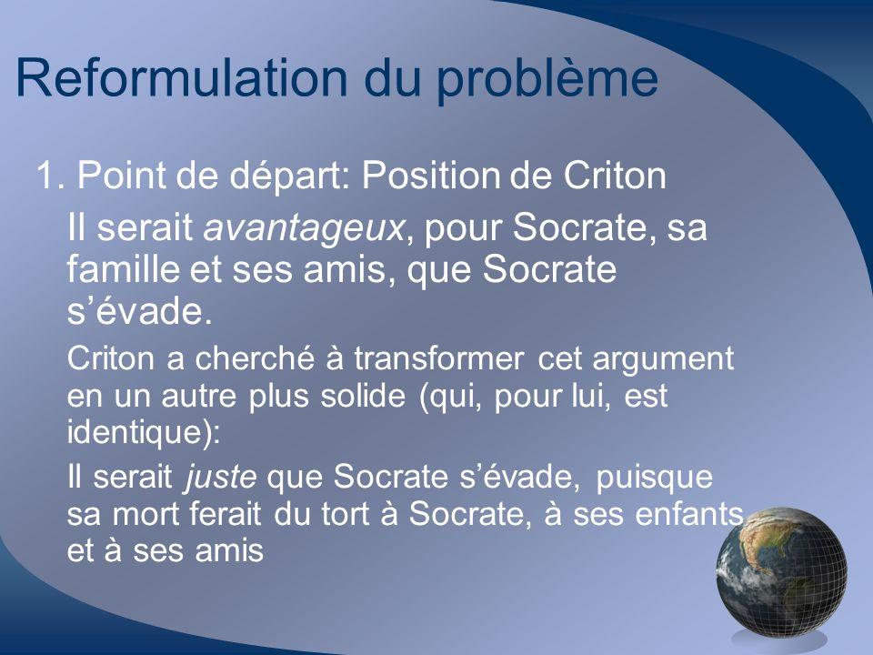 Reformulation du problème 1. Point de départ: Position de Criton Il serait avantageux, pour Socrate, sa famille et ses amis, que Socrate sévade. Crito