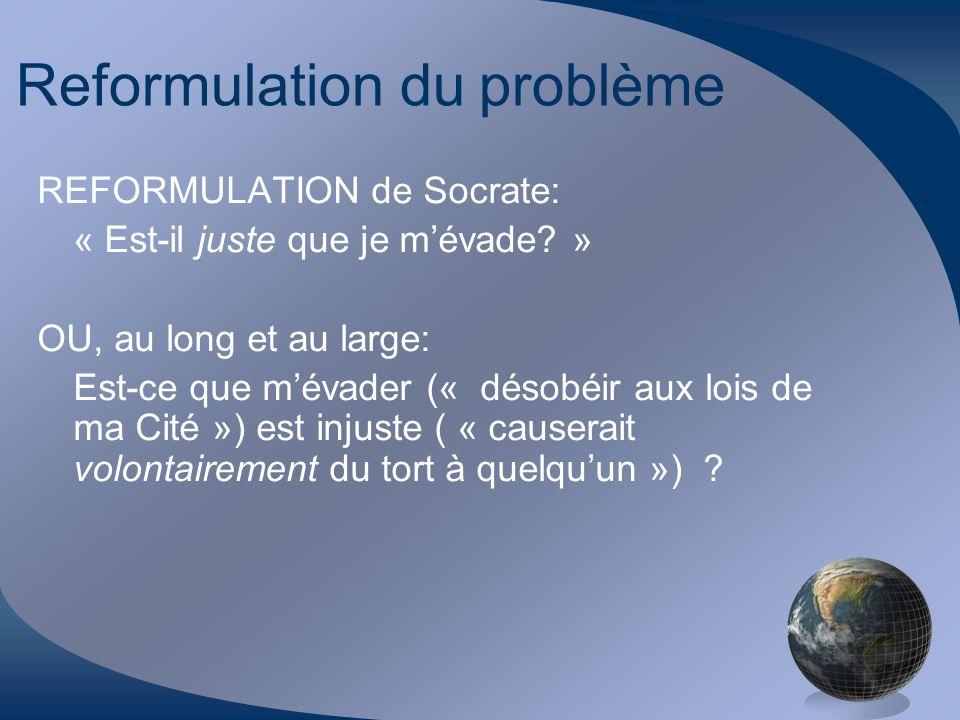 Reformulation du problème REFORMULATION de Socrate: « Est-il juste que je mévade? » OU, au long et au large: Est-ce que mévader (« désobéir aux lois d