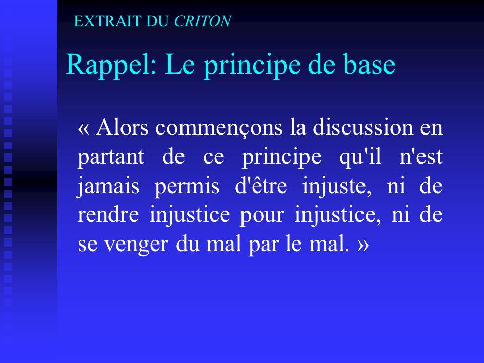 Rappel: Le principe de base « Alors commençons la discussion en partant de ce principe qu'il n'est jamais permis d'être injuste, ni de rendre injustic