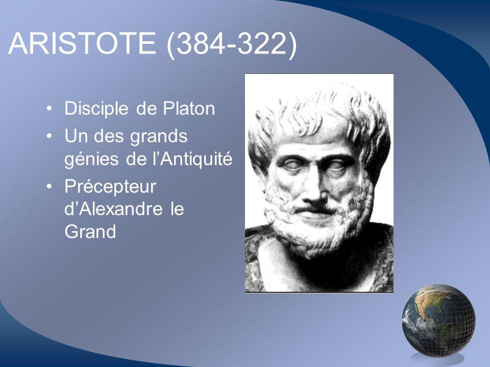 ARISTOTE (384-322) Disciple de Platon Un des grands génies de lAntiquité Précepteur dAlexandre le Grand