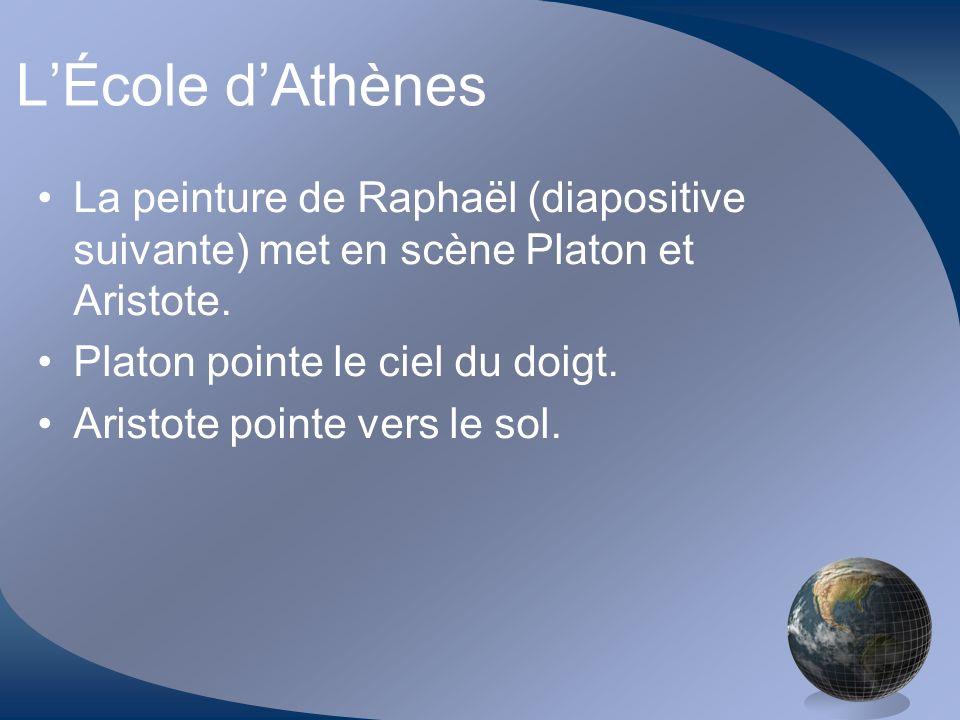 LÉcole dAthènes La peinture de Raphaël (diapositive suivante) met en scène Platon et Aristote. Platon pointe le ciel du doigt. Aristote pointe vers le