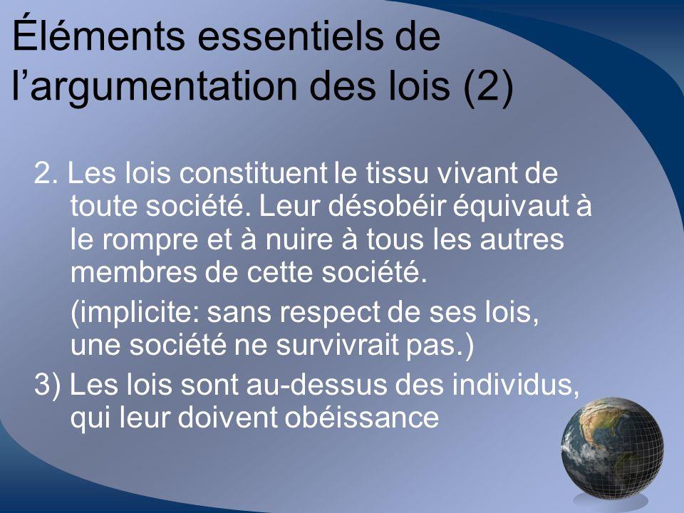 Éléments essentiels de largumentation des lois (2) 2. Les lois constituent le tissu vivant de toute société. Leur désobéir équivaut à le rompre et à n