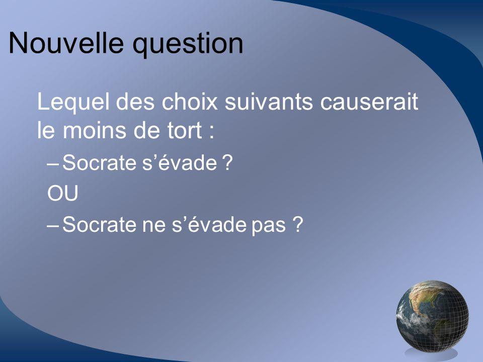 Nouvelle question Lequel des choix suivants causerait le moins de tort : –Socrate sévade ? OU –Socrate ne sévade pas ?