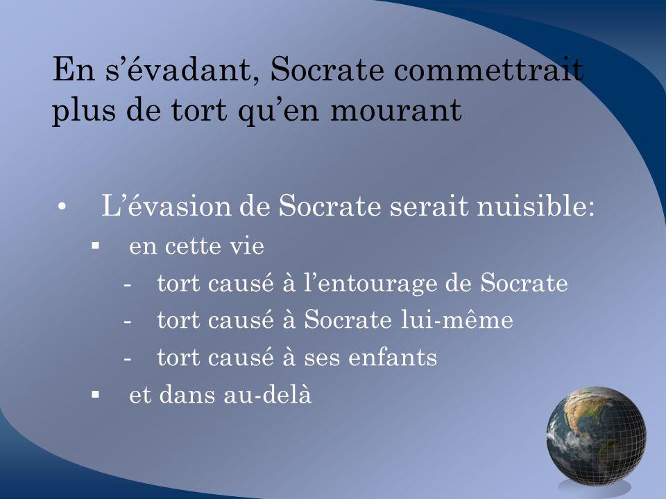 En sévadant, Socrate commettrait plus de tort quen mourant Lévasion de Socrate serait nuisible: en cette vie - tort causé à lentourage de Socrate - to