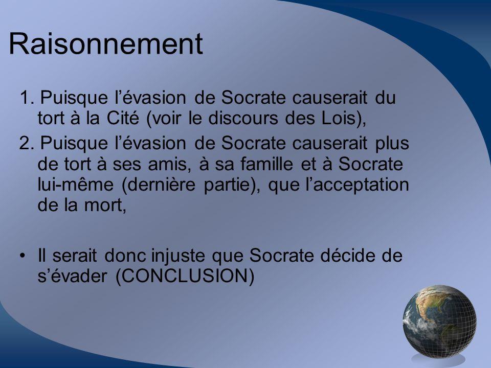 Raisonnement 1. Puisque lévasion de Socrate causerait du tort à la Cité (voir le discours des Lois), 2. Puisque lévasion de Socrate causerait plus de