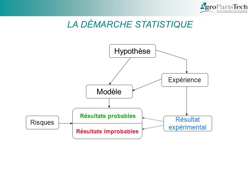 Hypothèse Expérience Résultat expérimental Modèle Résultats probables Résultats improbables Risques LA DÉMARCHE STATISTIQUE