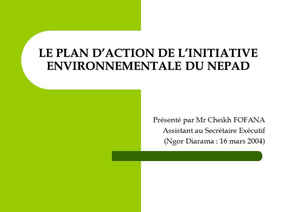 Domaines dintervention du Plan dAction de lInitiative Environnementale du NEPAD (suite) Questions transversales Santé et environnement Pauvreté et environnement Transfert de technologies environnementales durables Evaluation et système dalerte précoce des catastrophes naturelles