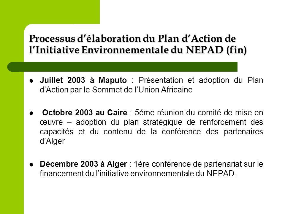 Processus délaboration du Plan dAction de lInitiative Environnementale du NEPAD (fin) Juillet 2003 à Maputo : Présentation et adoption du Plan dAction
