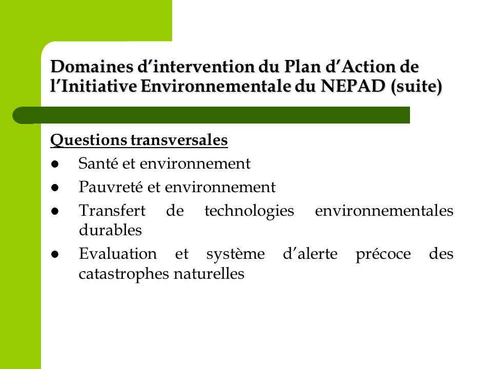 Domaines dintervention du Plan dAction de lInitiative Environnementale du NEPAD (suite) Questions transversales Santé et environnement Pauvreté et env