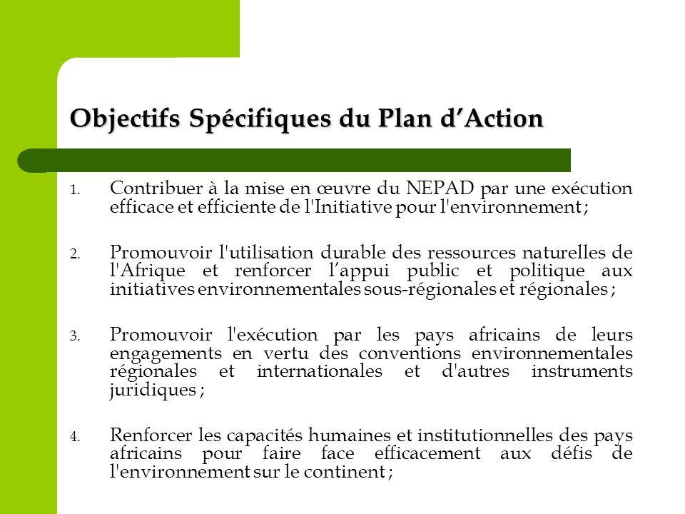 Objectifs Spécifiques du Plan dAction 1. Contribuer à la mise en œuvre du NEPAD par une exécution efficace et efficiente de l'Initiative pour l'enviro