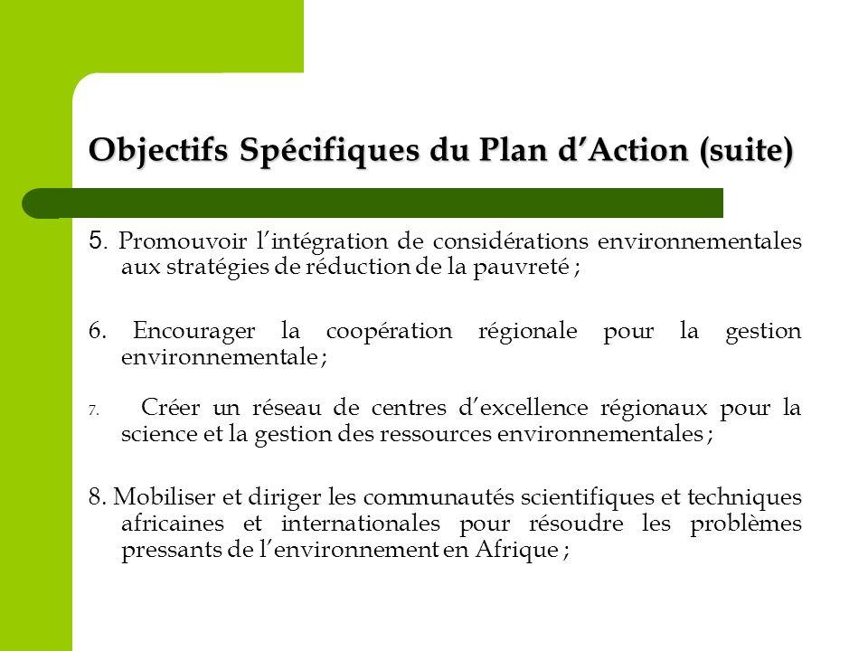 Objectifs Spécifiques du Plan dAction (suite) 5. Promouvoir lintégration de considérations environnementales aux stratégies de réduction de la pauvret