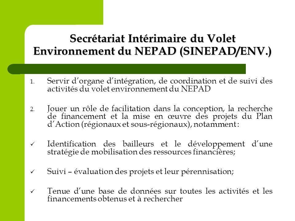 Secrétariat Intérimaire du Volet Environnement du NEPAD (SINEPAD/ENV.) 1. Servir dorgane dintégration, de coordination et de suivi des activités du vo