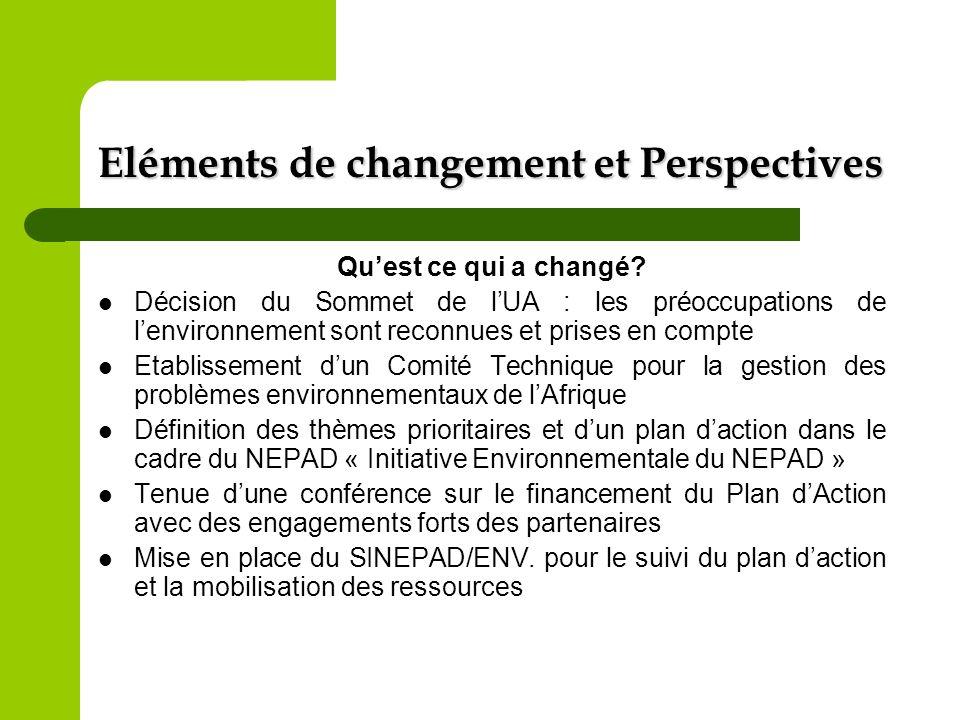 Eléments de changement et Perspectives Quest ce qui a changé? Décision du Sommet de lUA : les préoccupations de lenvironnement sont reconnues et prise