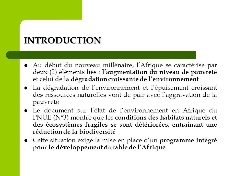INTRODUCTION Au début du nouveau millénaire, lAfrique se caractérise par deux (2) éléments liés : laugmentation du niveau de pauvreté et celui de la d