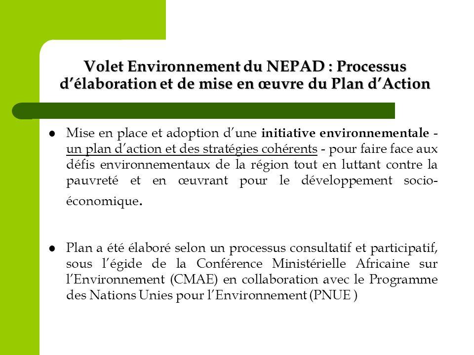 Volet Environnement du NEPAD (suite) Il traite les questions et les préoccupations communes et partagées du développement durable en Afrique.