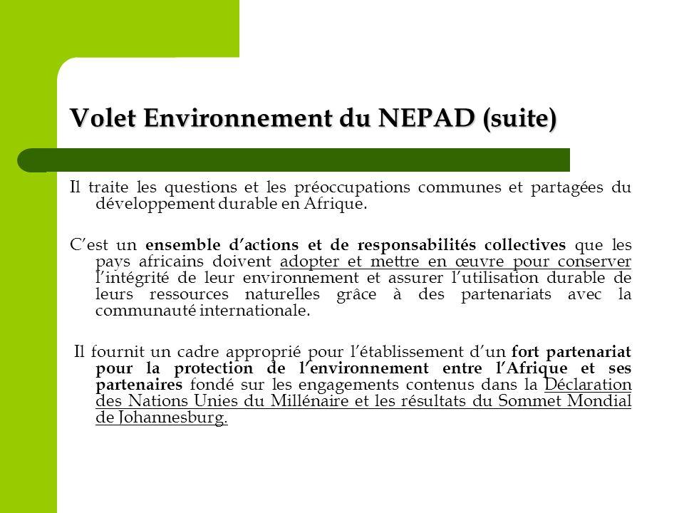 Volet Environnement du NEPAD (suite) Il traite les questions et les préoccupations communes et partagées du développement durable en Afrique. Cest un