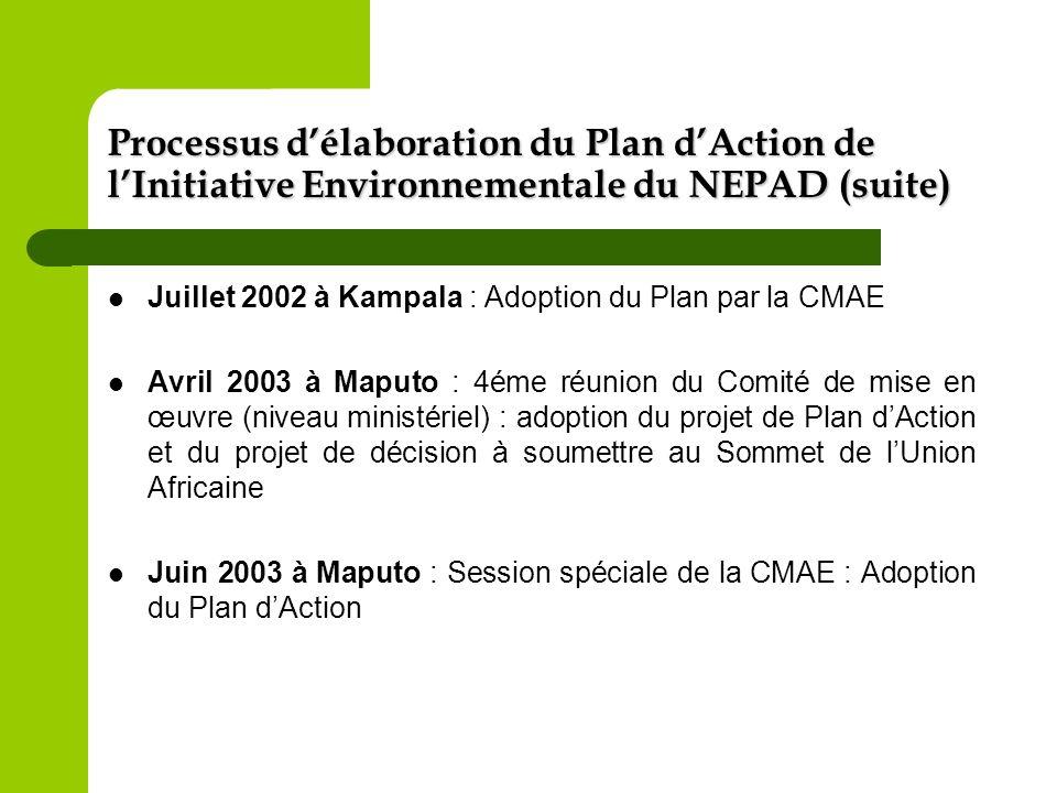 Processus délaboration du Plan dAction de lInitiative Environnementale du NEPAD (fin) Juillet 2003 à Maputo : Présentation et adoption du Plan dAction par le Sommet de lUnion Africaine Octobre 2003 au Caire : 5éme réunion du comité de mise en œuvre – adoption du plan stratégique de renforcement des capacités et du contenu de la conférence des partenaires dAlger Décembre 2003 à Alger : 1ére conférence de partenariat sur le financement du linitiative environnementale du NEPAD.