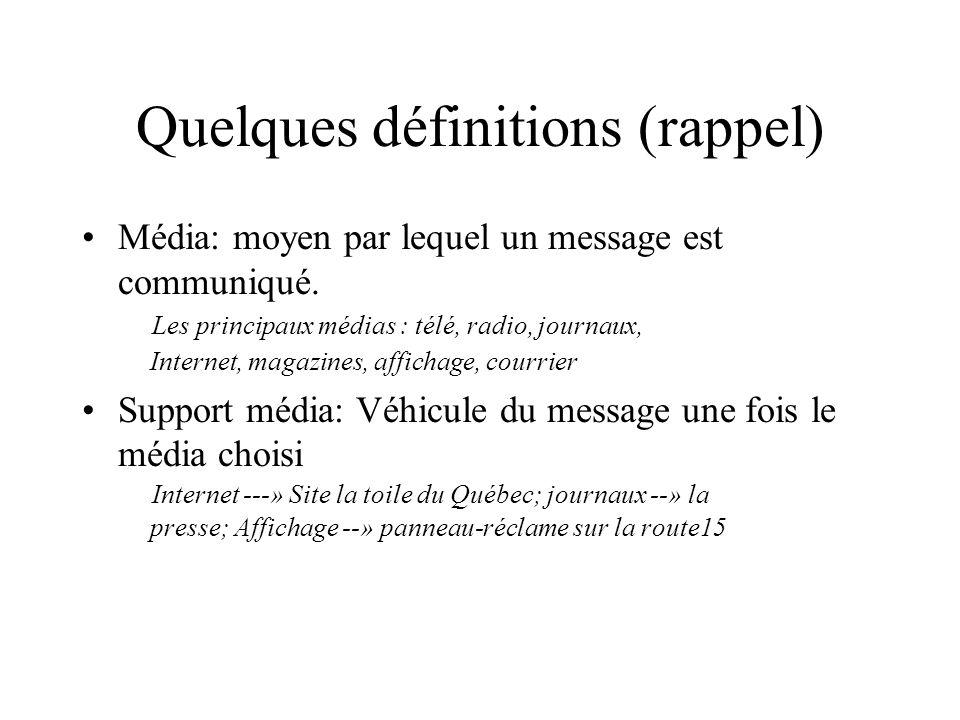 Quelques définitions (rappel) Média: moyen par lequel un message est communiqué. Les principaux médias : télé, radio, journaux, Internet, magazines, a