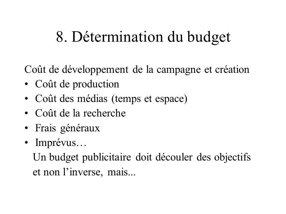 8. Détermination du budget Coût de développement de la campagne et création Coût de production Coût des médias (temps et espace) Coût de la recherche