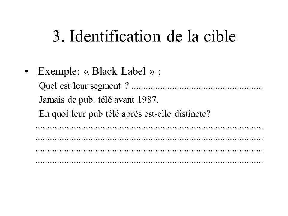 3. Identification de la cible Exemple: « Black Label » : Quel est leur segment ?....................................................... Jamais de pub.