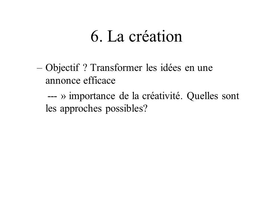 6. La création –Objectif ? Transformer les idées en une annonce efficace --- » importance de la créativité. Quelles sont les approches possibles?