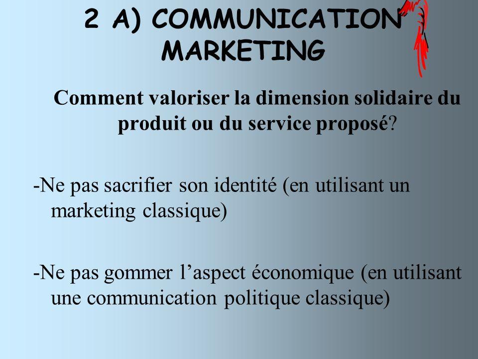 2 A) COMMUNICATION MARKETING Comment valoriser la dimension solidaire du produit ou du service proposé.