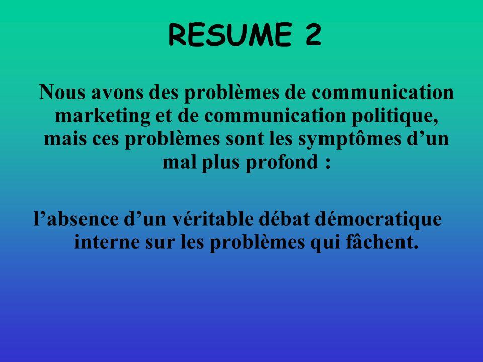 RESUME 2 Nous avons des problèmes de communication marketing et de communication politique, mais ces problèmes sont les symptômes dun mal plus profond : labsence dun véritable débat démocratique interne sur les problèmes qui fâchent.