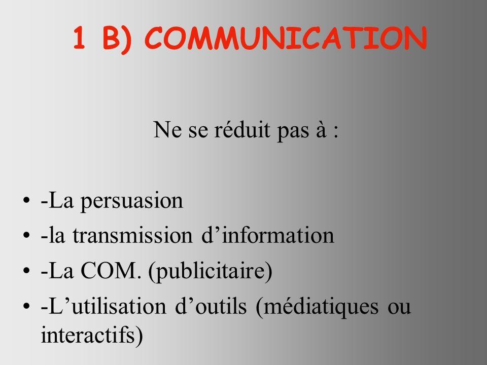 1 B) COMMUNICATION Ne se réduit pas à : -La persuasion -la transmission dinformation -La COM.