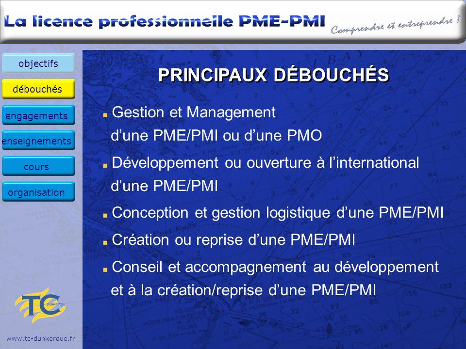 débouchés enseignants évaluation coordonnées objectifs www.tc-dunkerque.fr PRINCIPAUX DÉBOUCHÉS Gestion et Management dune PME/PMI ou dune PMO Dévelop