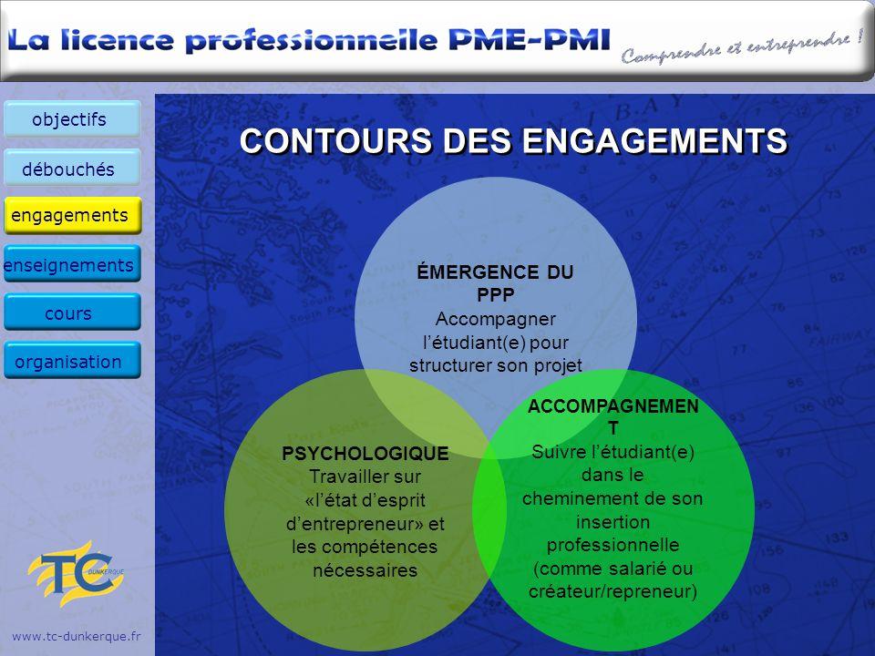 www.tc-dunkerque.fr CONTOURS DES ENGAGEMENTS ÉMERGENCE DU PPP Accompagner létudiant(e) pour structurer son projet PSYCHOLOGIQUE Travailler sur «létat