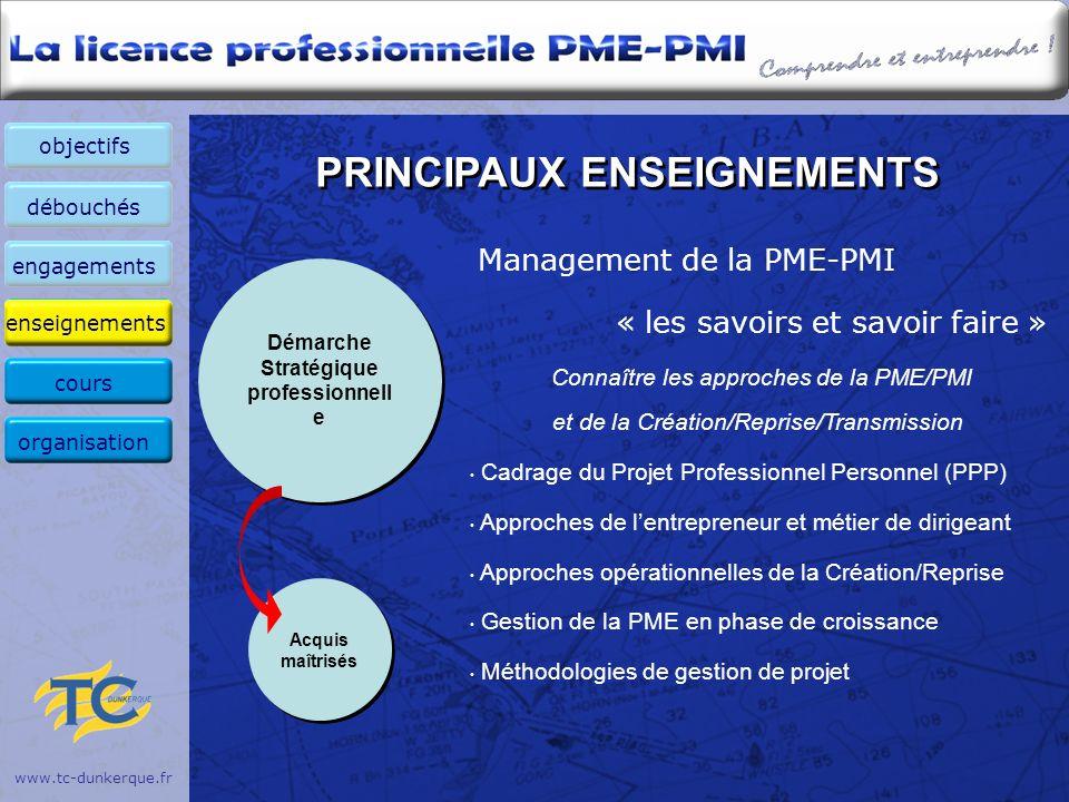 www.tc-dunkerque.fr PRINCIPAUX ENSEIGNEMENTS Management de la PME-PMI « les savoirs et savoir faire » Connaître les approches de la PME/PMI et de la C