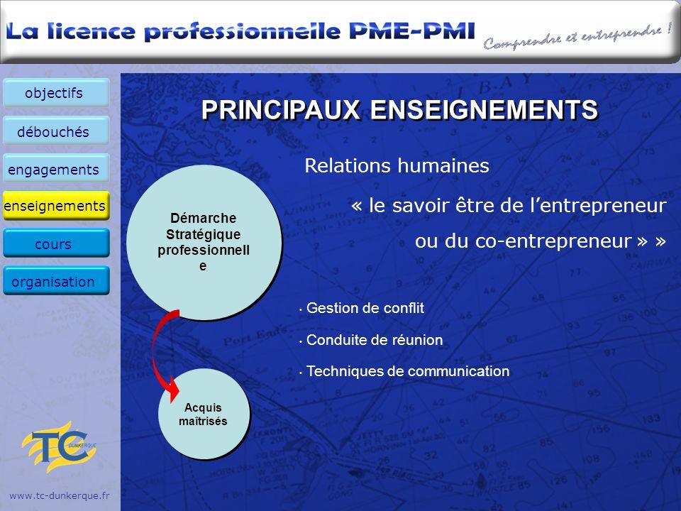 www.tc-dunkerque.fr PRINCIPAUX ENSEIGNEMENTS Relations humaines « le savoir être de lentrepreneur ou du co-entrepreneur » » Gestion de conflit Conduit