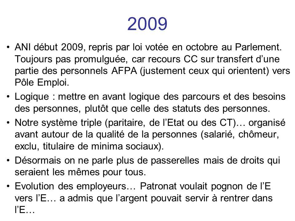 ANI début 2009, repris par loi votée en octobre au Parlement. Toujours pas promulguée, car recours CC sur transfert dune partie des personnels AFPA (j