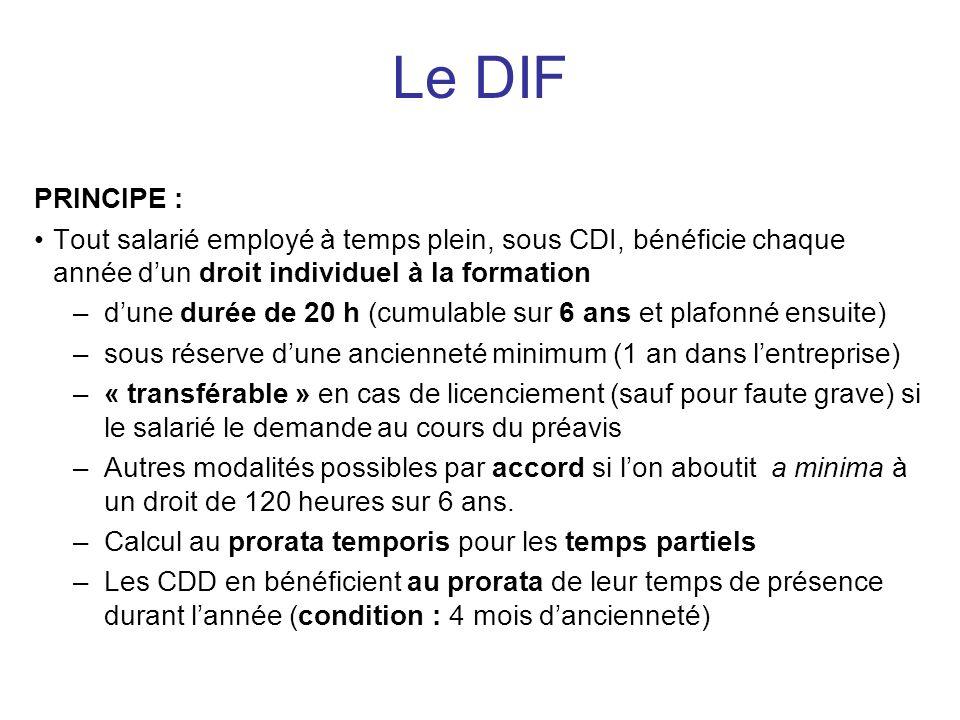 PRINCIPE : Tout salarié employé à temps plein, sous CDI, bénéficie chaque année dun droit individuel à la formation –dune durée de 20 h (cumulable sur