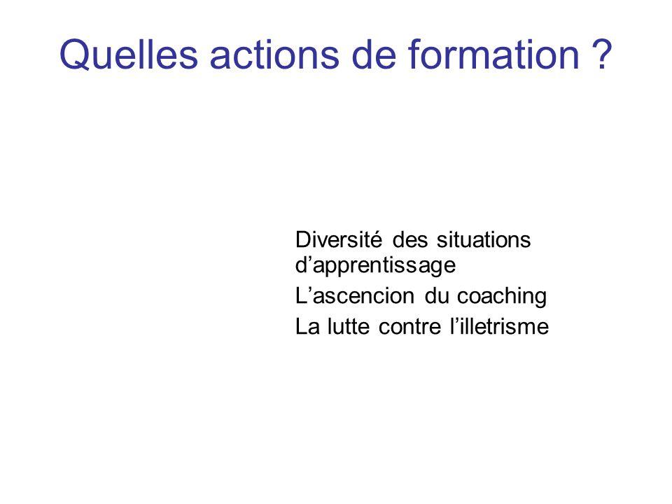 Diversité des situations dapprentissage Lascencion du coaching La lutte contre lilletrisme Quelles actions de formation ?