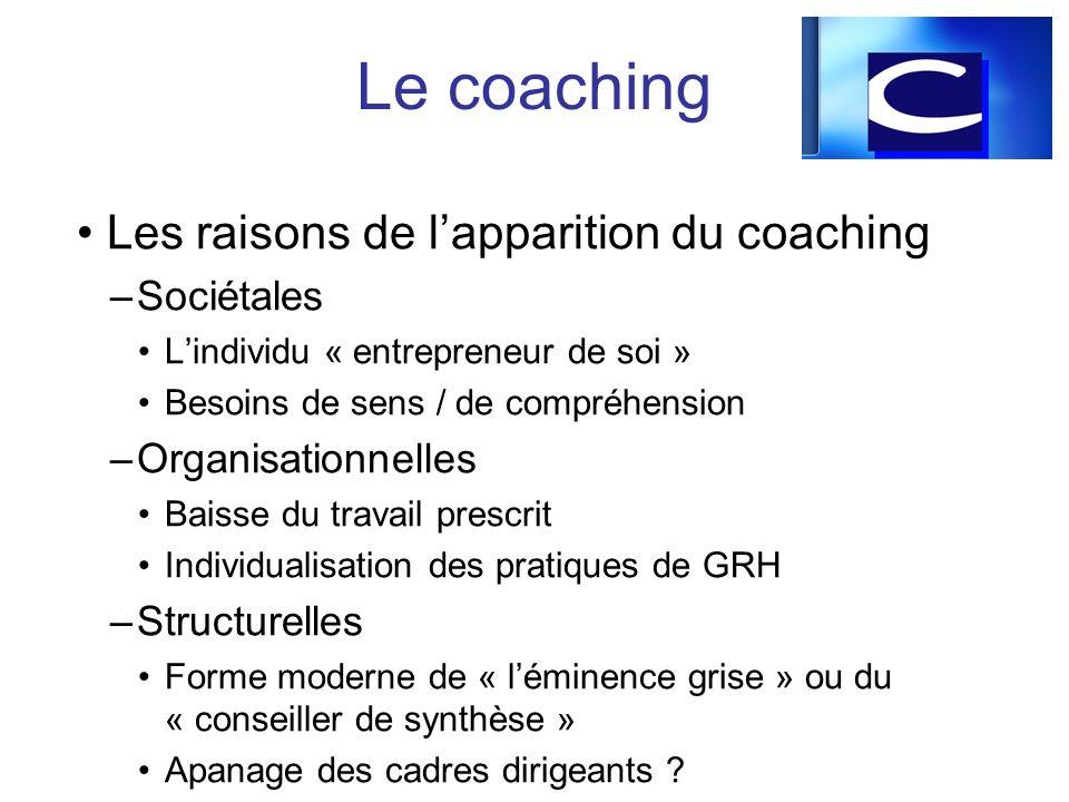 Les raisons de lapparition du coaching –Sociétales Lindividu « entrepreneur de soi » Besoins de sens / de compréhension –Organisationnelles Baisse du
