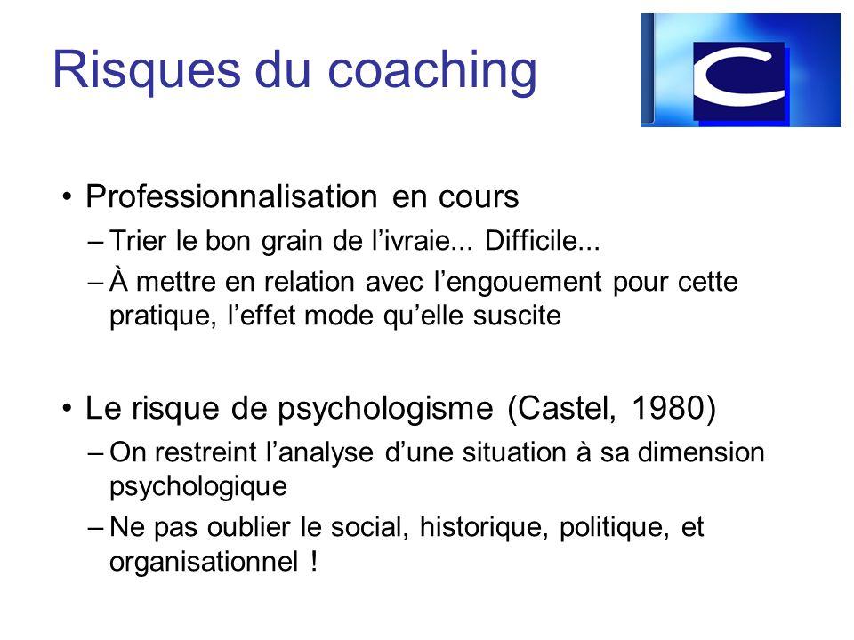 Professionnalisation en cours –Trier le bon grain de livraie... Difficile... –À mettre en relation avec lengouement pour cette pratique, leffet mode q