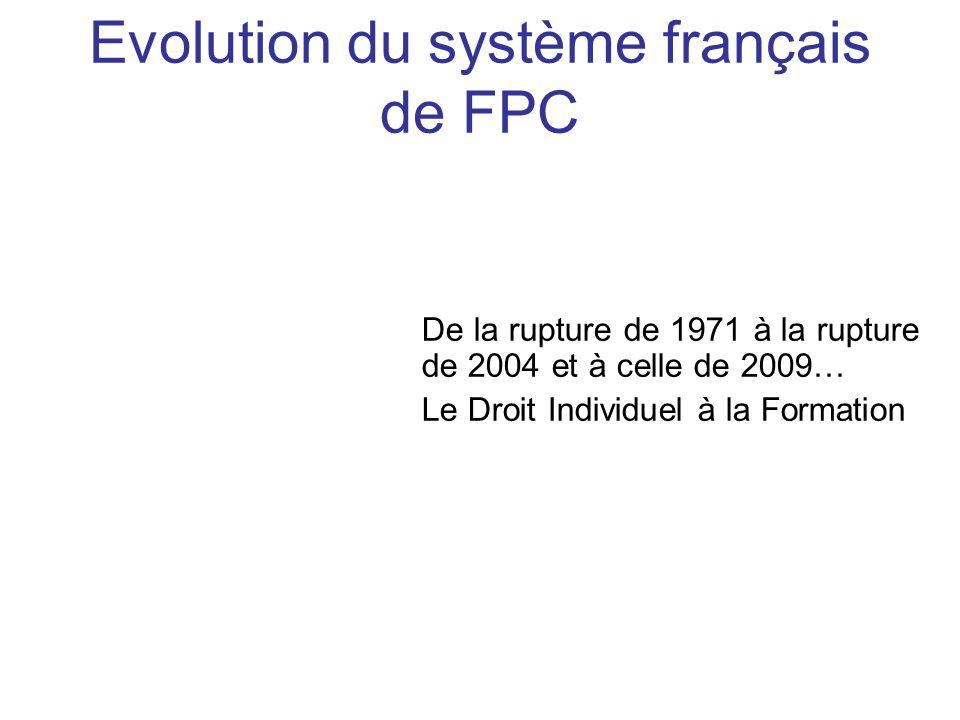 De la rupture de 1971 à la rupture de 2004 et à celle de 2009… Le Droit Individuel à la Formation Evolution du système français de FPC