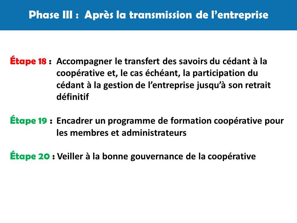 Phase III : Après la transmission de lentreprise Étape 18 : Accompagner le transfert des savoirs du cédant à la coopérative et, le cas échéant, la participation du cédant à la gestion de lentreprise jusquà son retrait définitif Étape 19 : Encadrer un programme de formation coopérative pour les membres et administrateurs Étape 20 : Veiller à la bonne gouvernance de la coopérative