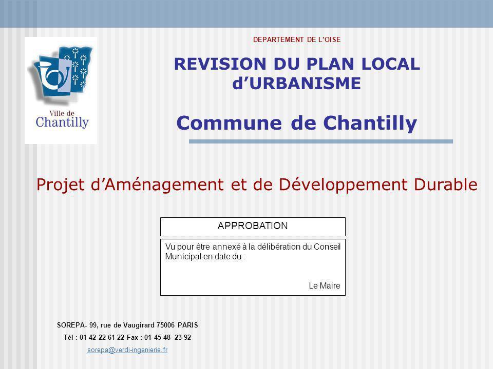 Projet dAménagement et de Développement Durable DEPARTEMENT DE LOISE REVISION DU PLAN LOCAL dURBANISME Commune de Chantilly SOREPA- 99, rue de Vaugira