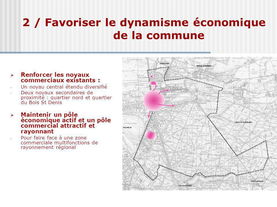2 / Favoriser le dynamisme économique de la commune Renforcer les noyaux commerciaux existants : - Un noyau central étendu diversifié - Deux noyaux se