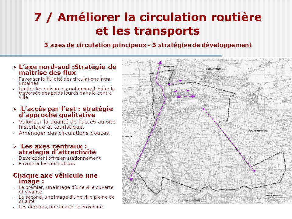 7 / Améliorer la circulation routière et les transports 3 axes de circulation principaux - 3 stratégies de développement Laxe nord-sud :Stratégie de m