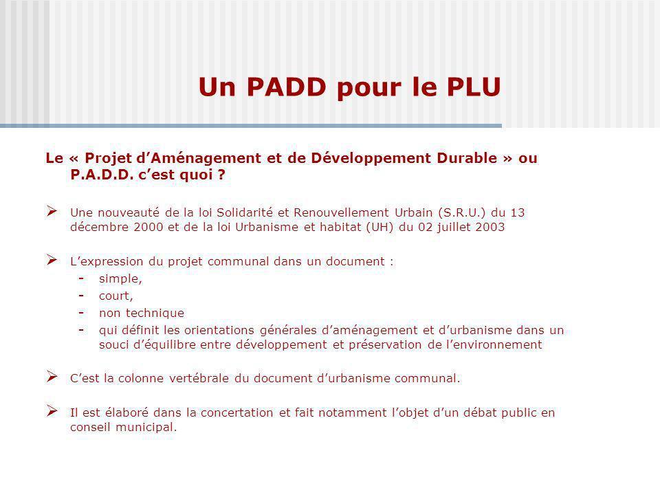 Un PADD pour le PLU Mairie de Chantilly – P.A.D.D.- Validation en CM le 20/02/2004 Le « Projet dAménagement et de Développement Durable » ou P.A.D.D.
