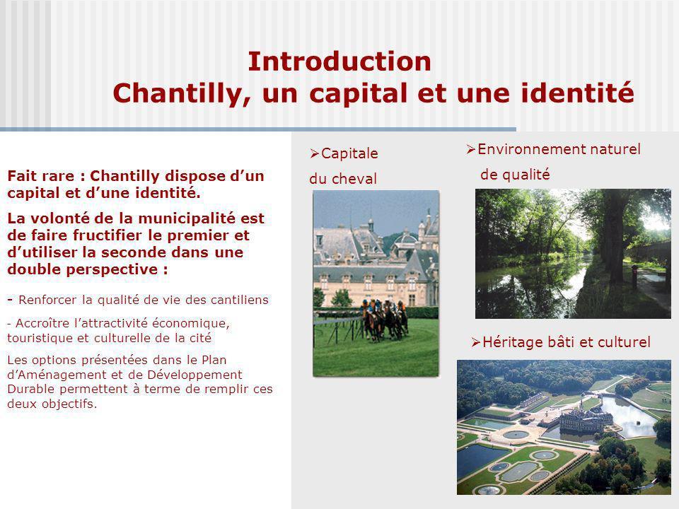 Introduction Chantilly, un capital et une identité Fait rare : Chantilly dispose dun capital et dune identité. La volonté de la municipalité est de fa