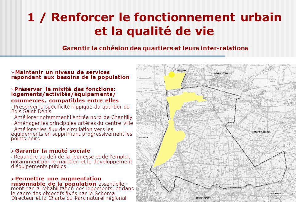 1 / Renforcer le fonctionnement urbain et la qualité de vie Garantir la cohésion des quartiers et leurs inter-relations Maintenir un niveau de service